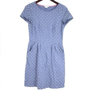 Boden Polka Dot Dress Blue Midi Pockets SZ 6